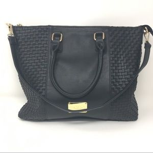 Bebe Black GHW Woven Leather Tote Bag